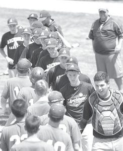 Archbold and Anthony Wayne congratulate each other after the game, Sunday, July 21.