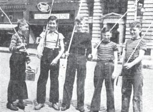 Archbold has been known for many good fishermen over the years. Above is a 75-year-old antique newspaper photo of five beginners headed to Gotshall Pond on East Depot Street. With bamboo cane poles and bait, they stopped in front of the Archbold Buckeye and asked for a photo to be taken. From left: Daryl and Dale Bruns, brothers; Harold Smith, Richard Walter, Paul Merillat.