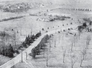 View of beautiful Ruihley Park as a bird flies westward in May 1939. Perhaps the birds kept flying because of the leafless spring trees. Everything is in place: the pavilion,