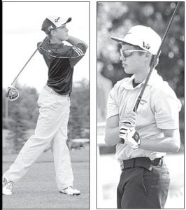 Archbold's DJ Schroeder, left, tees off and Pettisville's Evan King, right, follows his drive down the fairway. The Streaks and Birds played in a quad match with Ayersville and Fayette, Wednesday, Aug. 14.– photos by David Pugh