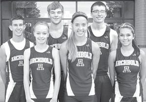 Six letterwinners return for the AHS cross country. From left: Matt Kinsman, Taylor DeWolfe, Pete Schoenhals, Jensyn Garrow, Tyson Helmke, Demetria Martinez.– photo by Mary Huber