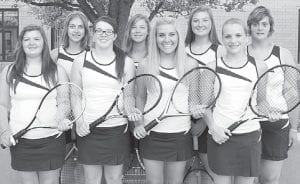 The AHS girls tennis team welcomed back eight letterwinners. From left: Morgan Meyer, Jessica Lindsay, Krista Leupp, Maddy Roth, Marli Fryman, Olivia Krieger, Shleby Cline, Lydia Andres.– photo by Mary Huber