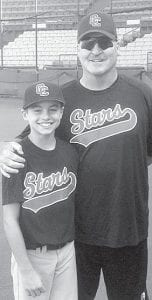 Kade Kern with one of his coaches, James King, a scout for the Los Angeles Dodgers who played professionally for the Dodgers and Chicago White Sox.– courtesy photo