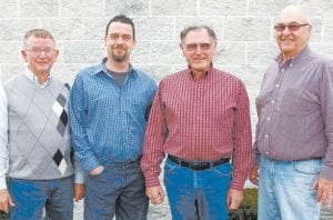 After 110-plus years of combined service on the Fulton County Fair Board, Carl Buehrer, Al Garrow, Richard Mull, and Curt Johnson, from left, retire from the board and look forward to attending the fair as civilians. All four men are confident in the future growth and continued success of the fair.– courtesy photo