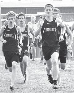 Left: Pettisville's Kyle Lantz and Dominic Frey, front from left, lead the pack as Archbold's Matt Kinsman, back left, and Pettisville's Jacob Hauter keep pace, Tuesday, Aug. 27, at Archbold.