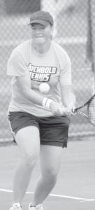Olivia Krieger returns a backhand in AHS girls tennis action.– photo by Mary Huber