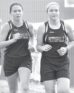 Andrea Aeschliman, left, finished right behind Jaelyn Rufenacht at the Tiffin Carnival, Saturday, Sept. 7.– photo by Mario Gomez