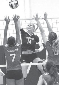 Natalie Rupp (14) attacks at the net in Archbold's NWOAL match with Wauseon, Tuesday, Sept. 10.– photo by Mario Gomez