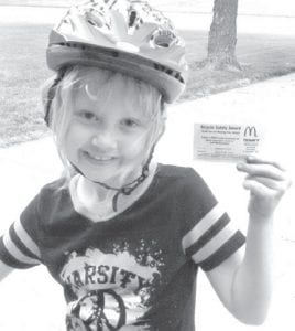 Emma Groves, 7, with her safety award. –courtesy photo