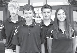 Ian Radabaugh, Elijah Miller, DJ Schroeder, and Meridith Short, from left, are returning letterwinners on the AHS golf team. Absent: Cora King.– photo by Mary Huber