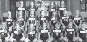 Nineteen letterwinners return on the AHS girls soccer team. Front row, from left: Sydney Ranzau, Neila Kinsman, Rebecca Schmucker, Emily Roth, McKenna Lantz, Mim Beck, Dominque Dale. Second row: Korey Arend, Brittany Miller, Jensyn Garrow, Mara Beck, Hannah Yoder, Alexa Coressel, Lauren Stuckey. Third row: Cassi Wyse, Alicia Hernandez, Madison Kohler, Lexa Richardson, Marissa Fryman.– photo by Mary Huber