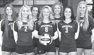 Seven letterwinners return on the AHS volleyball team. From left: Winter Fricke, Megan Miller, Cayla Walker, Peyton Driver, Cassidy Williams, Erin Erbskorn, Natalie Rupp.– photo by Mary Huber