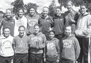 Members of the Pettisville girls cross country team who placed second in the Gold Division race at the Ottawa-Glandorf Blue/Gold Invitational are, front row from left: Alexa Leppelmeier, Sarah Herring, Elizabeth Miller, Kendi Nofziger, Grace Friend. Back row: Hannah Herring, Elizabeth Sauder, Jaelyn Rufenacht, Andrea Aeschliman, Krystine Davis, Nichole Foor, Gretchen Lee. Missing: Natalie Hoffmire.– photo courtesy Tim Friend