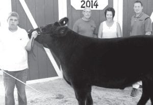Reserve champion born & raised steer and outstanding market exhibitor-beef Justin Nofziger, son of Greg & Jodi, Wauseon, left. Buyers: Al & Joyce Nofziger, represented by Al Nofziger; Nofziger Farm Service, represented by Chasity Nofziger; Archbold Equipment of Ohio & Michigan, represented by Jeff Rutledge; Fulton County Cattle Feeders; and Fountain Valley Trucking. Outstanding Market Exhibitor sponsors: Alternative Management Resources, Inc. (AMRI); and Pettisville Grain Company.