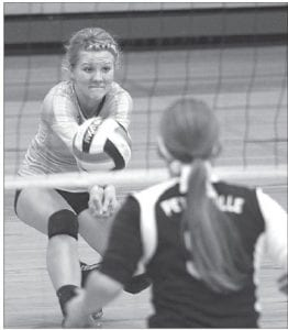 Sept. 27. Libero Stephanie Hubby (1) and Teagan Kauffman (3) cover the court in case of a block. Right: Archbold libero Peyton Driver receives serve.– photos by Mary Huber