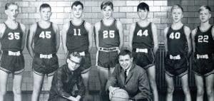 The Ridgeville Falcon Freshmen basketball team in 1965/66 were, front row, from left: D. Meyer, Les Gerken, coach. Back row: J. Rupp, D. Lugbill, B. Fether, K. Schnitkey, J. Hogrefe, S. Nissen, K. Wyse.– photo courtesy Archbold Schools