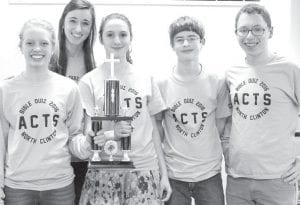 """Averaging 123 points in four wins and a tie, """"Charged"""" (11-2- 1), North Clinton, took home the traveling trophy at the Bible Quiz meet, Sunday, Feb. 7. Front row, from left: Anneli Shaw; Keri Aeschliman, quizzer/coach; Anna Thomas; Chris Foor; Cory Johnson. The team was also honored for having at least four quizzers answer correctly in 10 of its 14 matches this year.– courtesy photo"""