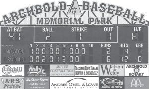 The final version of the new baseball scoreboard that will be installed in Memorial Park. The scoreboard should be in place for the start of baseball season.– courtesy graphic