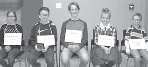 First-place finishers at the annual Fulton County Spelling Bee are, from left: Sydney Hageman, grade 5, Archbold; Christopher Hartzell, grade 7, Evergreen; Aaron Rupp, grade 8, Pettisville; Lyla Heising, grade 6, Pettisville; Kyle Hageman, grade 4, Archbold.– courtesy photo