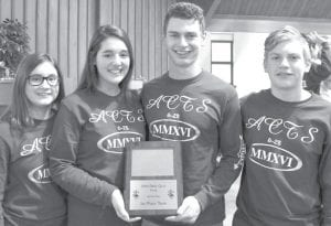 """Season Champions These four Bible quizzers took first place in the 2016 Northwest Ohio Bible Quiz season by winning all five of their matches, Sunday, Feb. 28, to finish 21-2-1. Making great sibling memories, the House Church team """"Right"""" is made up of Archbold students, from left: Kate Nofziger and Hope Nofziger; Joe Richer and Josh Richer. They are coached by Carrie Nofziger and Adam Steider.– courtesy photo"""