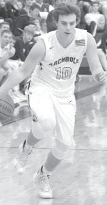 Kaiden Bedsole scored 12 points in Archbold's 58-50 Div. III sectional semifinal victory over Liberty Center, Wednesday, Feb. 24.– photo by Scott Schultz