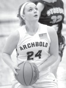 Cassi Wyse looks to complete a fast break with a layup against Otsego, Thursday, Feb. 25.– photo by Mary Huber