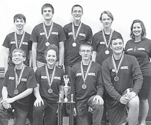 The Pettisville junior high varsity quiz team won the Northwest Ohio Educational Service Center Junior High Quiz Tournament, Tuesday, March 15. Front row, from left: Dalton Myers, Mikayla Graber, Joel Flory, Graeme Jacoby. Back row: Tyler Smith, Luke Young, Matt Rupp, Aaron Rupp, and Rebecca Dorosz, coach.– courtesy photo