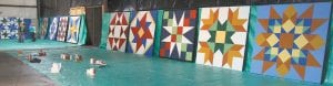 These are the 10 barn quilt blocks that will be mounted on barns in the Archbold area. Each represents a particular pattern, based on traditional quilts. In an actual quilt, anywhere from nine to more than 20 of these individual blocks would make up a quilt. The committee working on the project met with barn owners to consult on patterns and colors. This is the last time all 10 will be in the same place.– photo by David Pugh