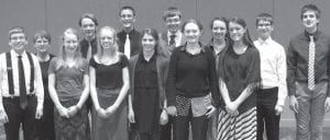 Twelve Pettisville students attended the Ohio Junior Sciences and Humanities Symposium. Front row, from left: Dalton Myers, Jessie McWatters, Anneli Shaw, Kelly Miller, Kayla Wyse, Gretchen Lee. Back row: Donna Meller, Pettisville high school science teacher; Aaron Rupp, Matthew Rupp, Jacob Dennis, Jordan Skates, Josh Bock, Luke Young.– courtesy photo