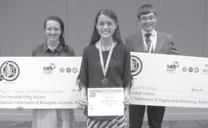 From left: Jordan Skates won the Thomas Alva Edison Award, Gretchen Lee won first place in the ninth-tenth grade division of the poster session, and Jacob Dennis placed as second alternate.– courtesy photo