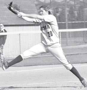 Payton Robinson delivers a pitch to a Montpelier Locomotive, Thursday, April 14. The senior and Alyssa Ziegler combined on a three-hit shutout as AHS won the NWOAL contest 6-0.– photo by Mario Gomez