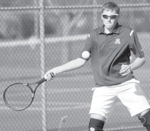 Erik Short returns a forehand in AHS boys tennis action. Short won his number two singles match against Maumee Valley Country Day last week.– photo by Mary Huber