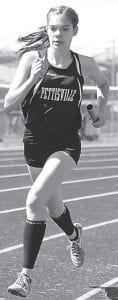 Top: Elizabeth Sauder, left, and Morgan Leppelmeier run two legs of Pettisville's 4x800 relay at the Diller Invitational. Nichole Foor and Alexa Leppelmeier ran the other two legs. They beat the previous meet record by almost 12 seconds. Bottom left: Julia Lambert was one member of Archbold's 4x400 team that broke the previous record by two seconds. Bottom right: Caden Garrow runs in the boys 4x800; the Streaks finished third in the race.– photos by Dennis Driver