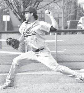 Lathon Babcock throws a pitch against Swanton, Monday, April 25.– photo by Mario Gomez