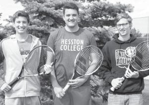 From left: Jereme Rupp and the doubles team of Alex Short and Luke McQuade advanced to this week's Division II district tennis tournament with fourth-place finishes at the sectional last week.– photo by Mary Huber