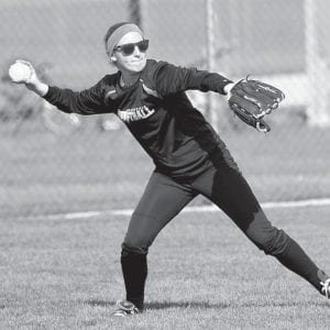 Leftfielder Marissa Beck fields the ball against North Central, Tuesday, May 3.– photo by Mary Huber