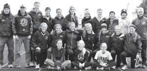 Members of the Pettisville girls track team, which won its third straight BBC championship and 12th title in school history, are, front row from left: Leah Beck, Ella Hudspeath, Elise Hoylman, managers. Second row: Morgan Leppelmeier, Elizabeth Sauder, Marais Borton, Katie Hauter, Sarah Herring, Alexa Leppelmeier, Bekah Liechty. Third row: Tom Wagner, head coach; Marty Rupp, assistant coach; Nichole Foor; Kendal Pursel; Martina Ticali; Rebekah Steele; Hannah Herring; Krystine Davis; Tessa Waidelich; Alyana Jones; Gabe Jaramillo, assistant coach.– photo by Beth Foor