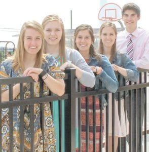 These members of the PHS Class of 2016 say there are advantages to attending Pettisville that aren't reflected in test scores and graduation rates; it's the close relationships that are formed by attending such a small school. From left: Hannah Herring, Hannah Hoops, Natalie Hoffmire, Amber Klopfenstein, Andrew Sauder.– photo by D. J. Neuenschwander