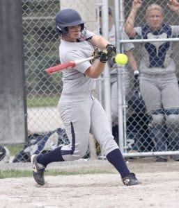 Cassi Wyse hits the game-winning home run in the sixth inning of the district final.