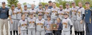 The AHS softball team won its second straight Division III district championship and eighth in 10 years, Saturday, May 21. Kneeling, from left: Gabby Nafziger; Macey Rupp; Leslie Simon; Maddie Thiel and Makena Thiel, managers; McKenna Towns. Standing: Joe Frank, head coach; Brooke Kohler; Andi Peterson, Emie Peterson; Peyton Dickman; Alyssa Ziegler; Neila Kinsman; Greg Kuhlman, assistant coach; Payton Robinson; Brooke Hines; Shelby Cline; Cassi Wyse; Madison Kohler; Andrea Thiel, assistant coach. The Streaks play Paulding today, Wednesday, 5 pm, in a regional semifi- nal at Findlay.– photo by Mary Huber