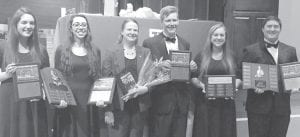 Among those accepting awards recognizing them for their achievements in music are, from left: Hope Nofziger, Praetorius Musicum; Emma Cobb, Praetorius Musicum, John Philip Sousa award; Beth Voll, AHS band director; Layne Rex; Emily Rose, director's award for dedication; and Matt Benecke, Louis Armstrong Jazz Award. All are members of the Class of 2016.– courtesy photo