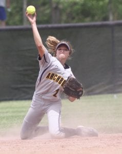 Macey Rupp throws to first for the second out of the fifth inning.