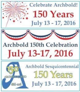 Sesquicentennial banners are being prepared that can be taped to windows of storefronts.– graphics courtesy Amy Cover