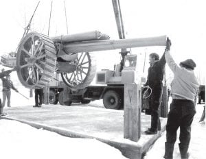 The World War I cannon is put in place at the memorial site in Ruihley Park. It was replaced with a Civil War cannon.
