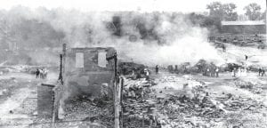 Ruins of the August 30, 1913, fire that destroyed the east side of downtown Archbold.