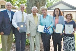 From left: Dean Spangler, chairman of the Sauder Village Board; Randy Gardner, state senator (R-Bowling Green); Randy Buchman, historian; Debbie David, president and CEO, Sauder Village; Kathy Shaver, deputy district director for the office of Robert Latta, US representative (R-Bowling Green); LuAnn Cooke, Northwest Ohio regional liaison for John Kasich, Ohio governor.