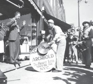 Arthur Fagley keeps time for the Archbold Town Band, while Otto Kluepfel directs the musicians in a snappy march tune.– Photos from the Archbold Buckeye archives.