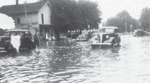 The June 1937 flood poured over North Defiance Street all the way from Brush Creek.