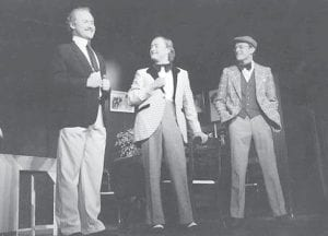 "A scene from ""Charley's Aunt,"" another Archbold Community Theater production. On stage are, from left: Tim Kohart, Mark Nafziger, and Bill Phelps."