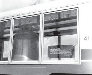 A giant replica of the Liberty Bell in one of the Showcase Cars of the American Freedom Train.